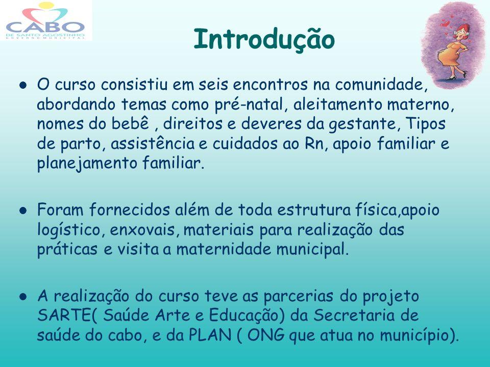 Introdução O curso consistiu em seis encontros na comunidade, abordando temas como pré-natal, aleitamento materno, nomes do bebê, direitos e deveres d