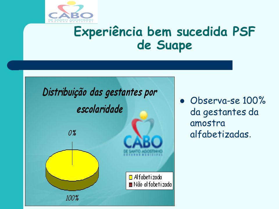 Experiência bem sucedida PSF de Suape Observa-se 100% da gestantes da amostra alfabetizadas.
