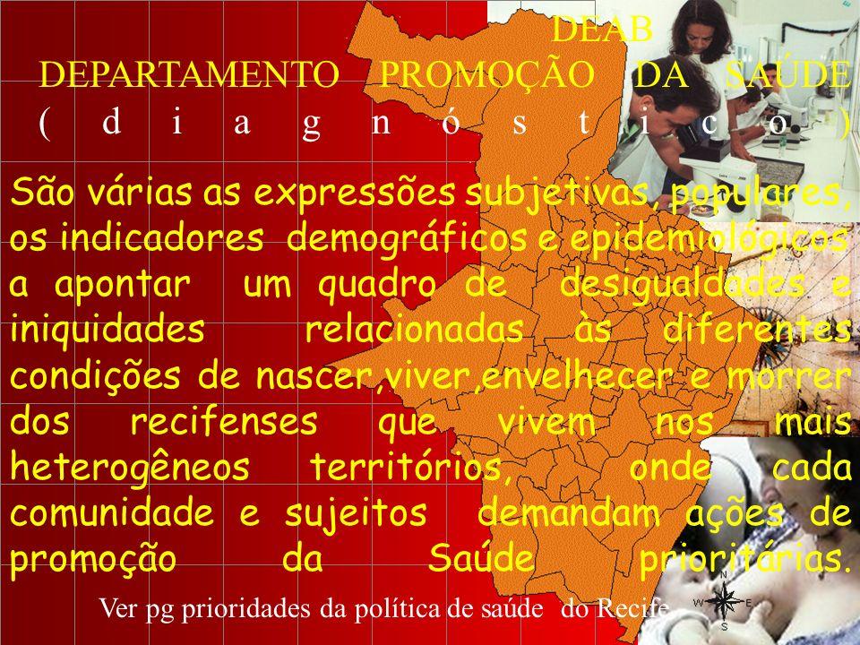 DEAB DEPARTAMENTO PROMOÇÃO DA SAÚDE ( d i a g n ó s t i c o ) São várias as expressões subjetivas, populares, os indicadores demográficos e epidemioló