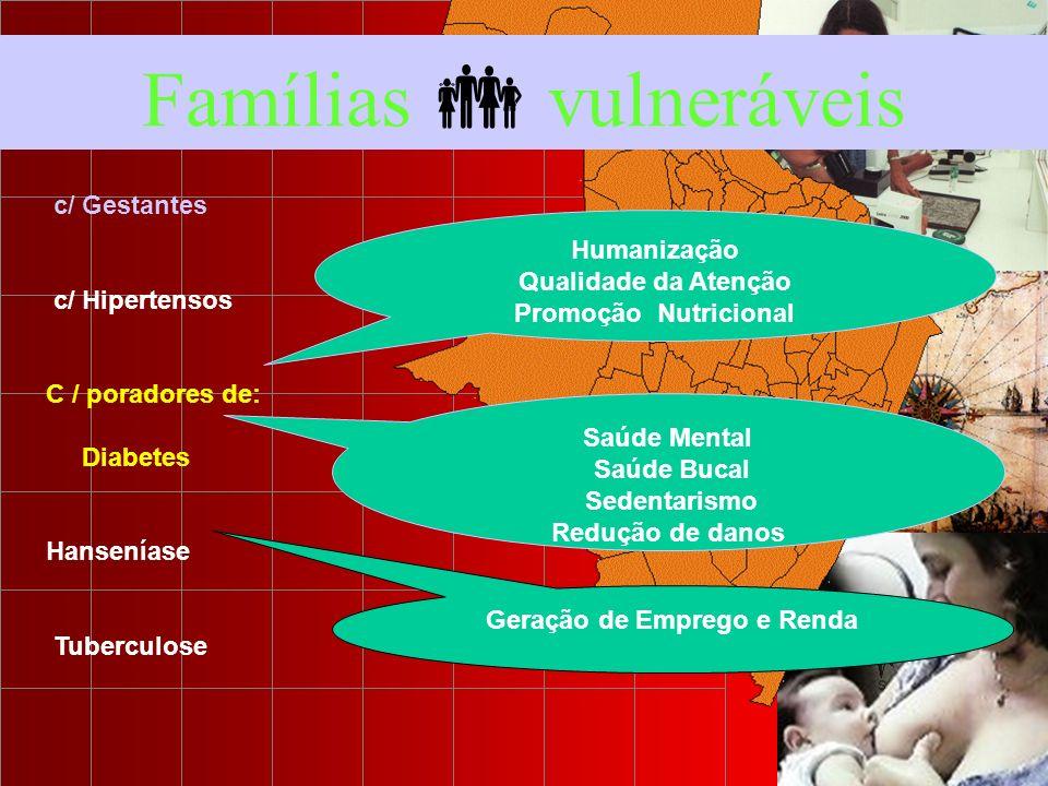 Famílias vulneráveis c/ Gestantes c/ Hipertensos C / poradores de: Diabetes Hanseníase Tuberculose Humanização Qualidade da Atenção Promoção Nutricion