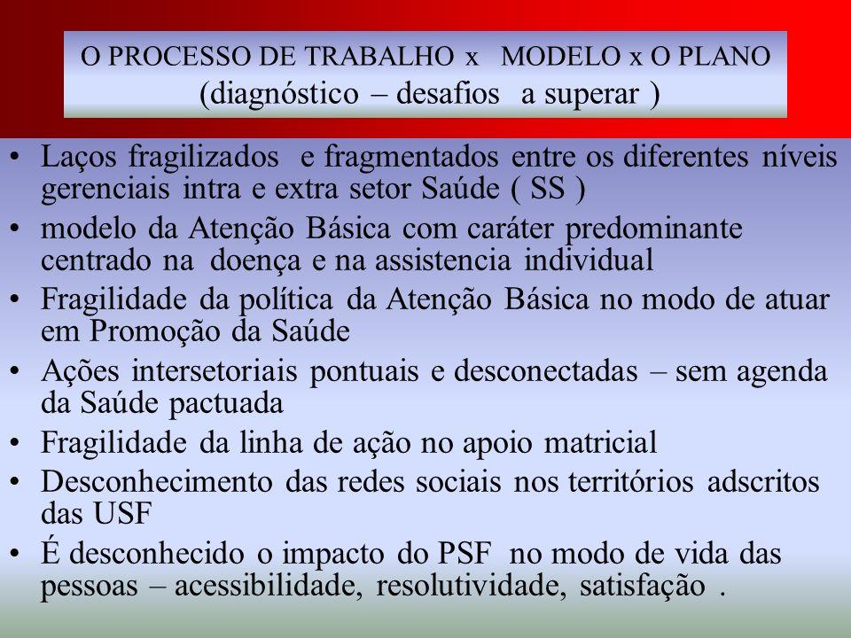 O PROCESSO DE TRABALHO x MODELO x O PLANO (diagnóstico – desafios a superar ) Laços fragilizados e fragmentados entre os diferentes níveis gerenciais