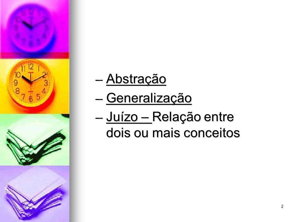 2 Abstração Abstração Generalização Generalização Juízo – Relação entre dois ou mais conceitos Juízo – Relação entre dois ou mais conceitos