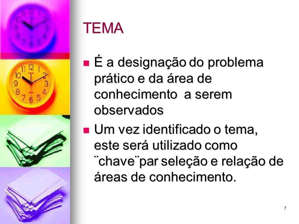 7 TEMA É a designação do problema prático e da área de conhecimento a serem observados É a designação do problema prático e da área de conhecimento a