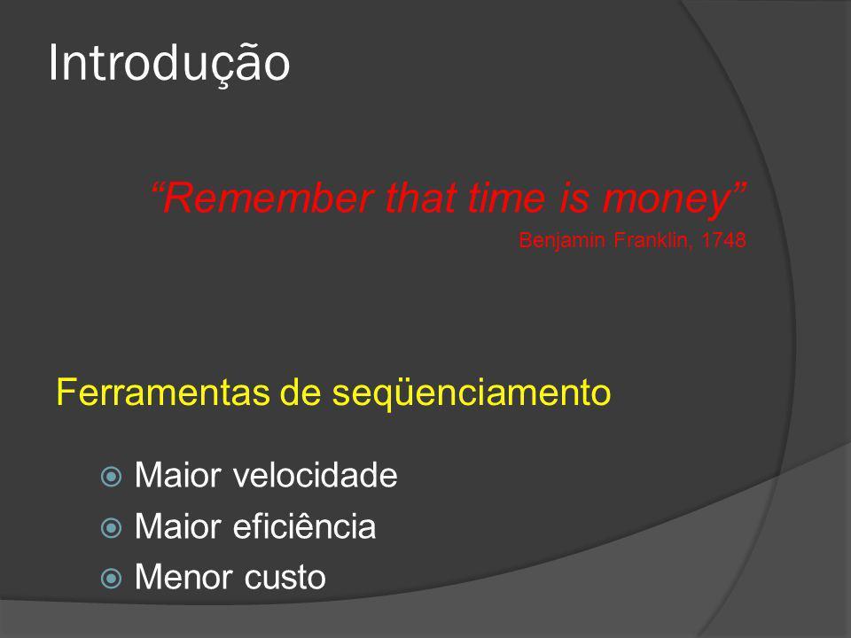 Introdução Maior velocidade Maior eficiência Menor custo Remember that time is money Benjamin Franklin, 1748 Ferramentas de seqüenciamento