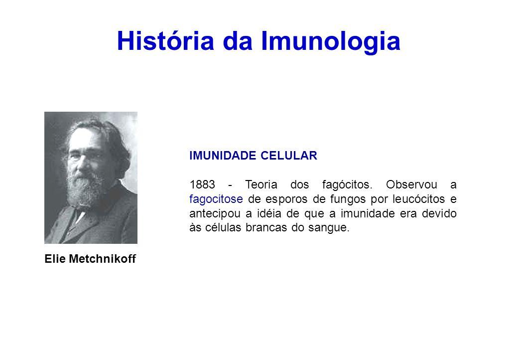 História da Imunologia Elie Metchnikoff IMUNIDADE CELULAR 1883 - Teoria dos fagócitos. Observou a fagocitose de esporos de fungos por leucócitos e ant