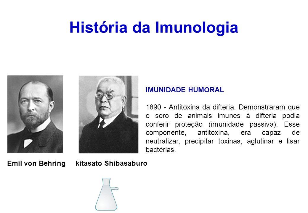 História da Imunologia Emil von Behring kitasato Shibasaburo IMUNIDADE HUMORAL 1890 - Antitoxina da difteria. Demonstraram que o soro de animais imune