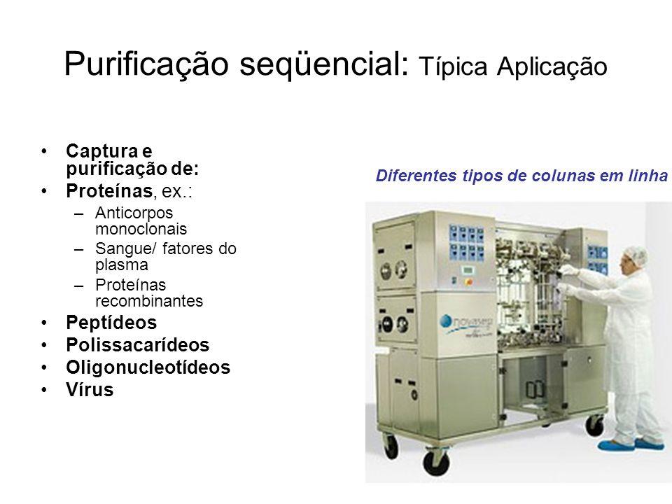Purificação seqüencial: Típica Aplicação Captura e purificação de: Proteínas, ex.: –Anticorpos monoclonais –Sangue/ fatores do plasma –Proteínas recom