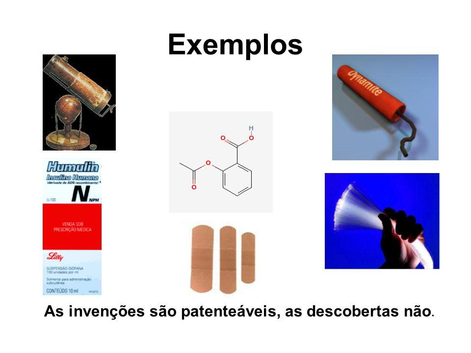 Exemplos As invenções são patenteáveis, as descobertas não.