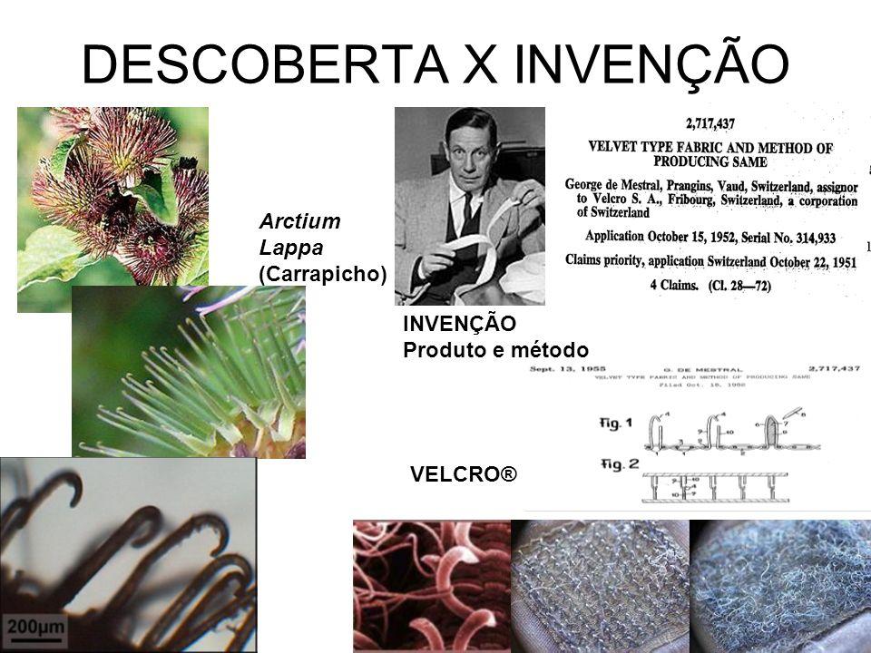 DESCOBERTA X INVENÇÃO Arctium Lappa (Carrapicho) INVENÇÃO Produto e método VELCRO®