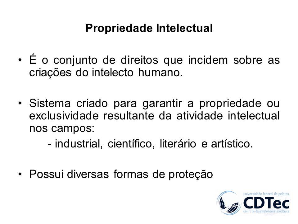 Propriedade Intelectual É o conjunto de direitos que incidem sobre as criações do intelecto humano. Sistema criado para garantir a propriedade ou excl