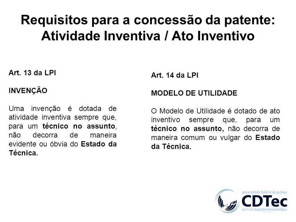 Requisitos para a concessão da patente: Atividade Inventiva / Ato Inventivo Art. 13 da LPI INVENÇÃO Uma invenção é dotada de atividade inventiva sempr