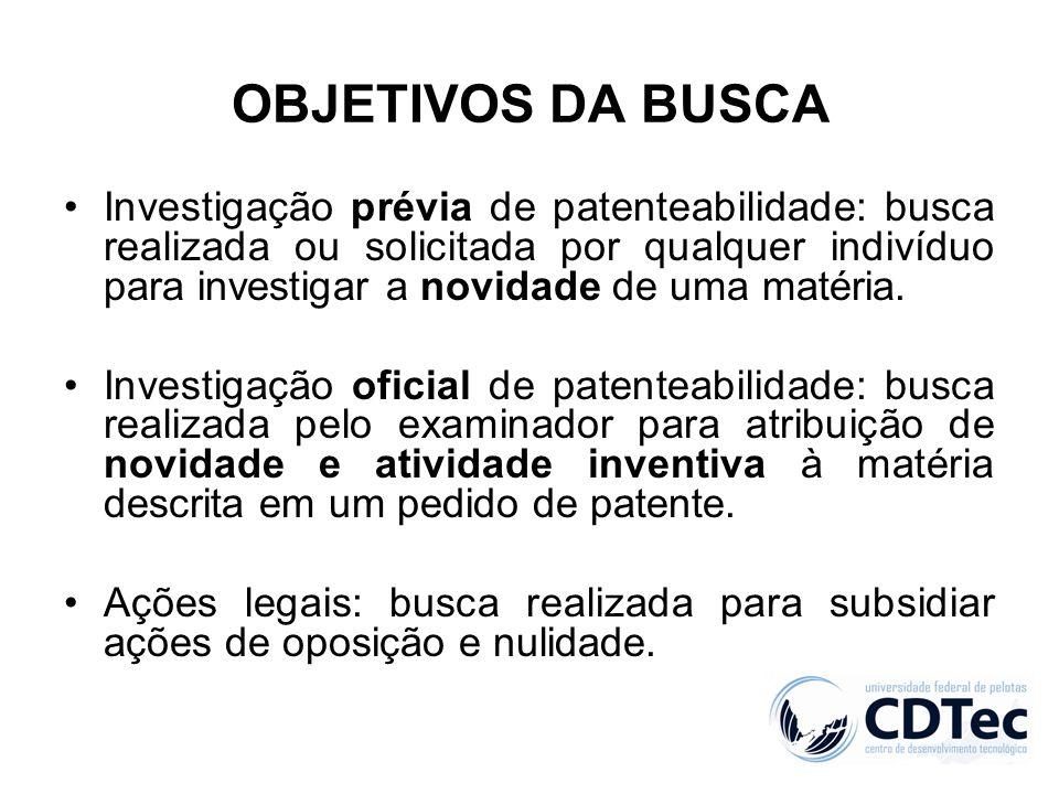 OBJETIVOS DA BUSCA Investigação prévia de patenteabilidade: busca realizada ou solicitada por qualquer indivíduo para investigar a novidade de uma mat