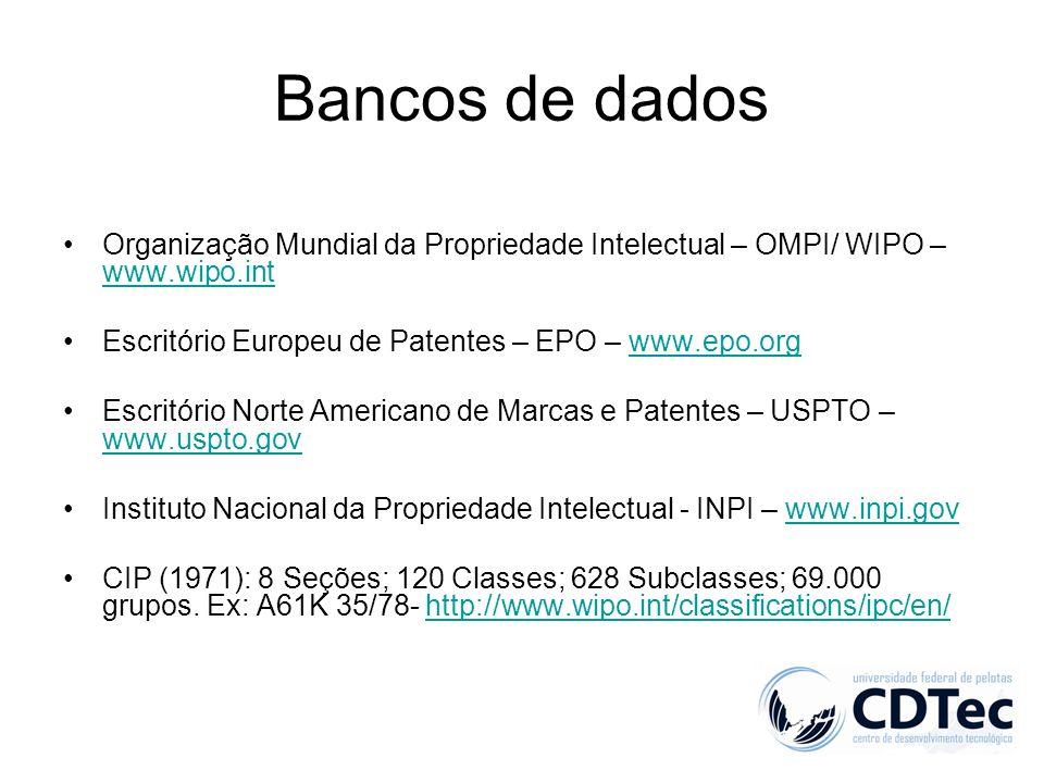 Bancos de dados Organização Mundial da Propriedade Intelectual – OMPI/ WIPO – www.wipo.int www.wipo.int Escritório Europeu de Patentes – EPO – www.epo