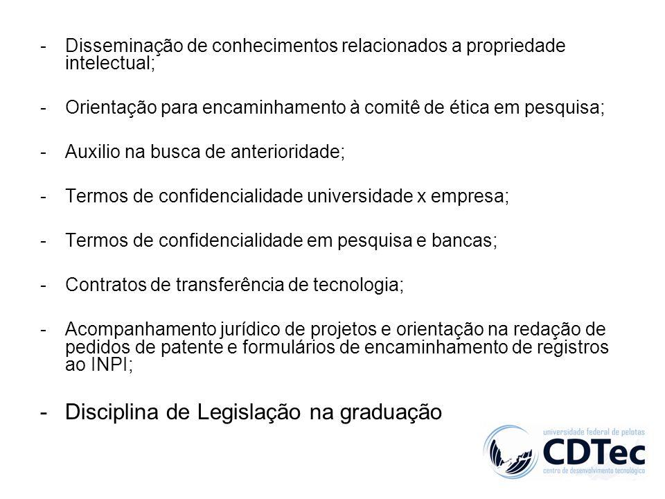 -Disseminação de conhecimentos relacionados a propriedade intelectual; -Orientação para encaminhamento à comitê de ética em pesquisa; -Auxilio na busc