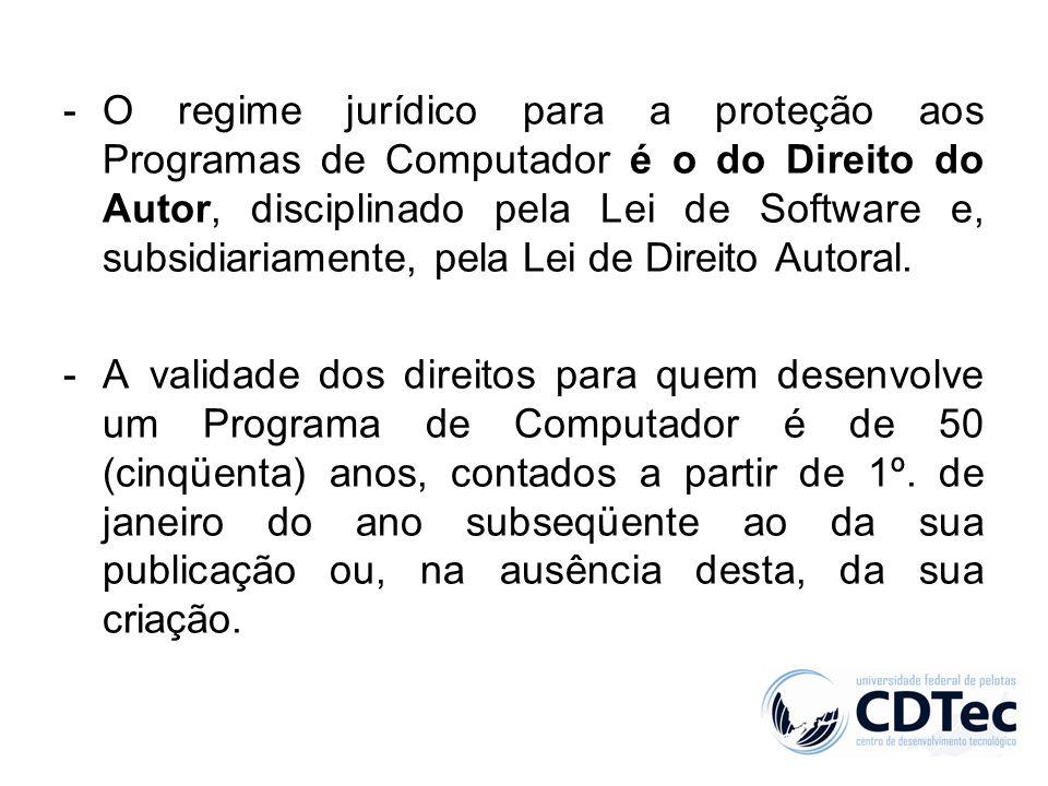 -O regime jurídico para a proteção aos Programas de Computador é o do Direito do Autor, disciplinado pela Lei de Software e, subsidiariamente, pela Le