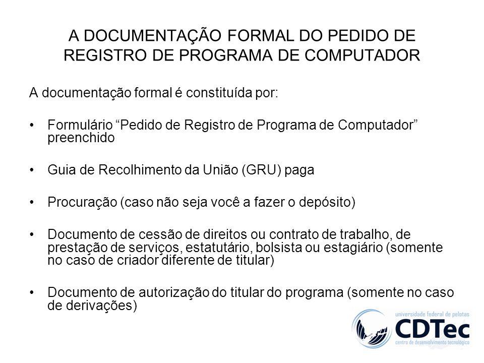 A DOCUMENTAÇÃO FORMAL DO PEDIDO DE REGISTRO DE PROGRAMA DE COMPUTADOR A documentação formal é constituída por: Formulário Pedido de Registro de Progra