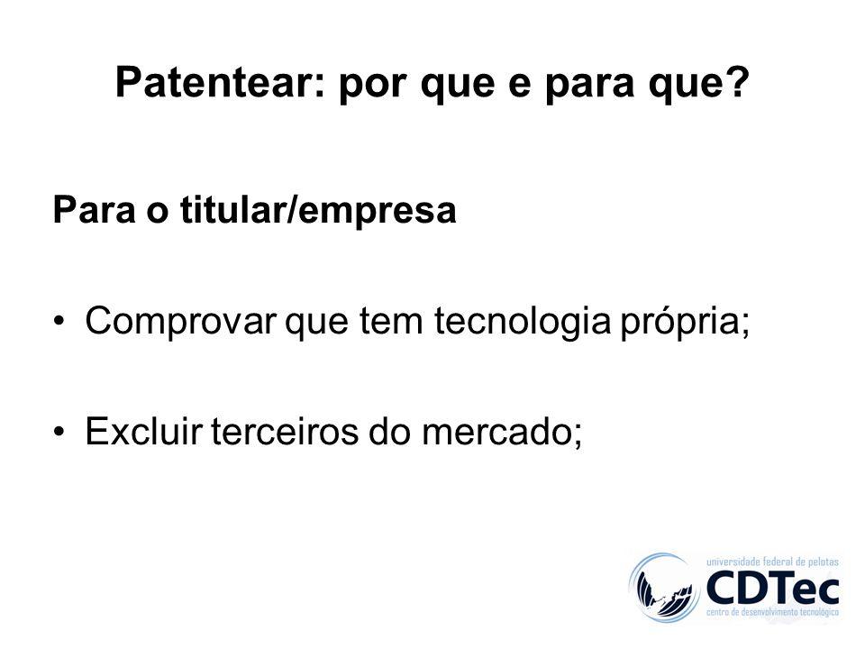 Patentear: por que e para que? Para o titular/empresa Comprovar que tem tecnologia própria; Excluir terceiros do mercado;