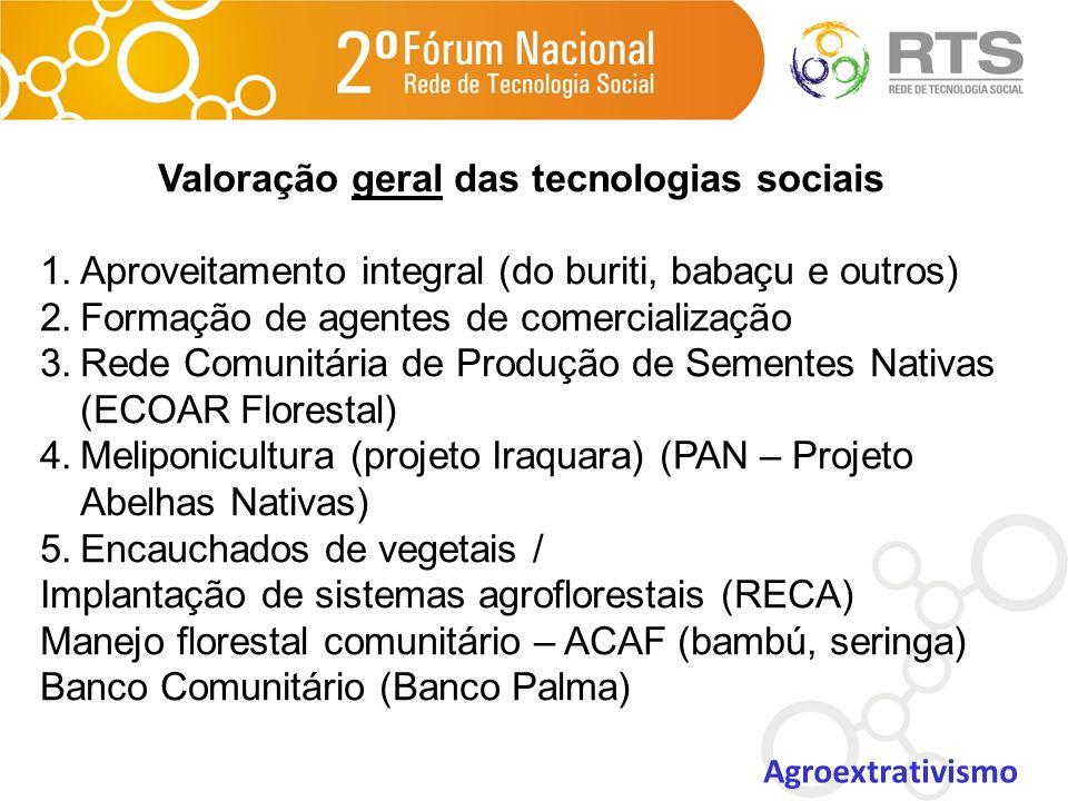 Valoração geral das tecnologias sociais 1.Aproveitamento integral (do buriti, babaçu e outros) 2.Formação de agentes de comercialização 3.Rede Comunit