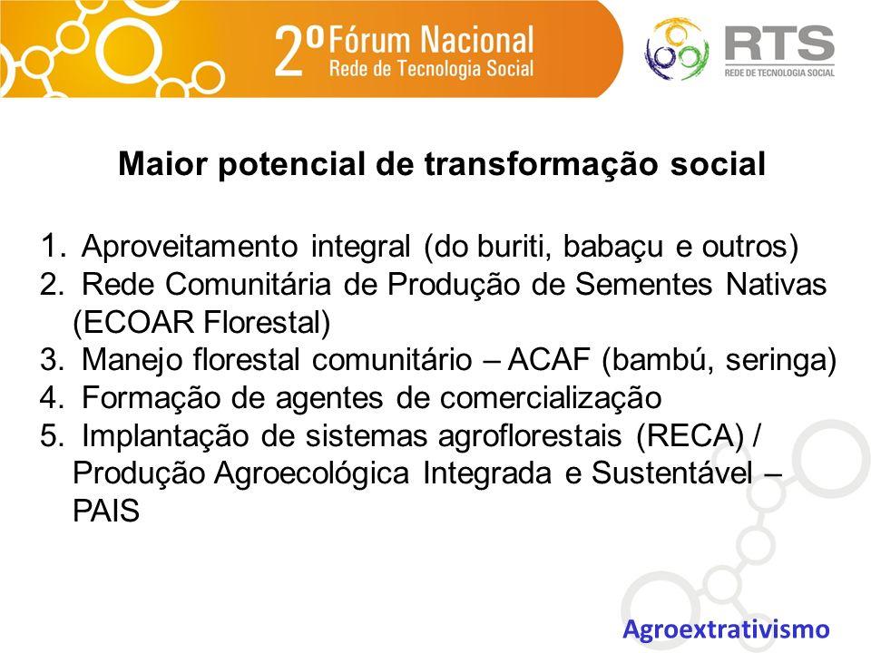 Maior potencial de transformação social 1. Aproveitamento integral (do buriti, babaçu e outros) 2. Rede Comunitária de Produção de Sementes Nativas (E