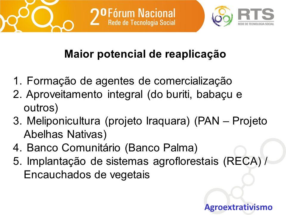 Maior potencial de reaplicação 1. Formação de agentes de comercialização 2. Aproveitamento integral (do buriti, babaçu e outros) 3. Meliponicultura (p