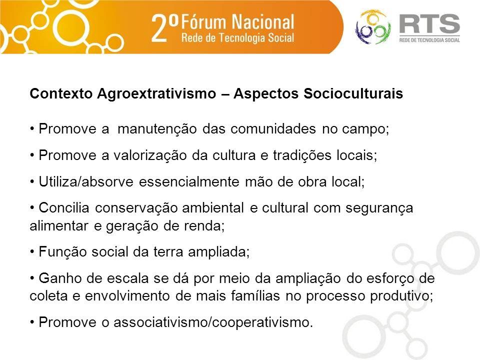 Contexto Agroextrativismo – Aspectos Socioculturais Promove a manutenção das comunidades no campo; Promove a valorização da cultura e tradições locais