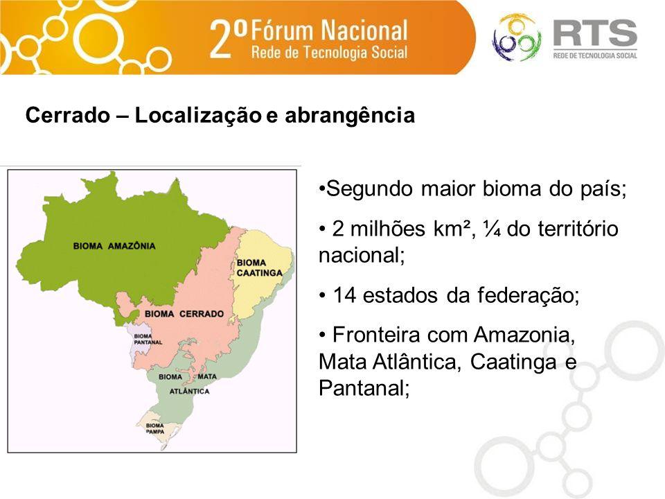 Segundo maior bioma do país; 2 milhões km², ¼ do território nacional; 14 estados da federação; Fronteira com Amazonia, Mata Atlântica, Caatinga e Pant