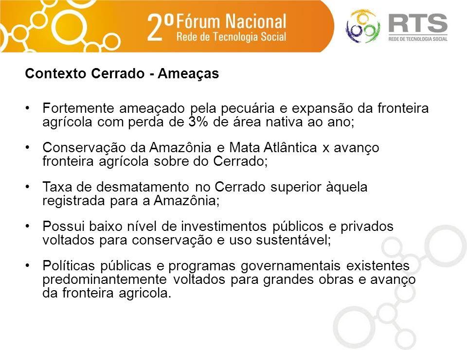 Contexto Cerrado - Ameaças Fortemente ameaçado pela pecuária e expansão da fronteira agrícola com perda de 3% de área nativa ao ano; Conservação da Am