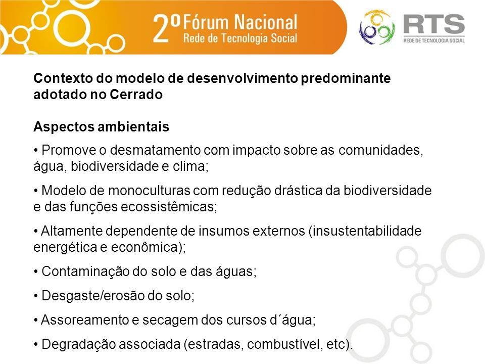 Contexto do modelo de desenvolvimento predominante adotado no Cerrado Aspectos ambientais Promove o desmatamento com impacto sobre as comunidades, águ