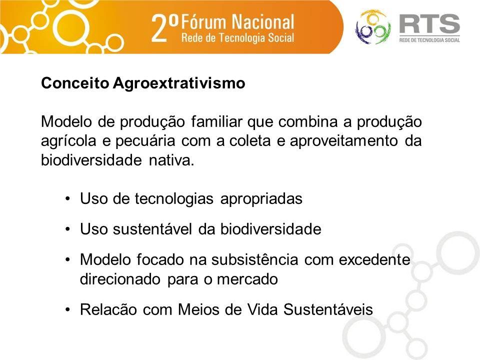Conceito Agroextrativismo Modelo de produção familiar que combina a produção agrícola e pecuária com a coleta e aproveitamento da biodiversidade nativ