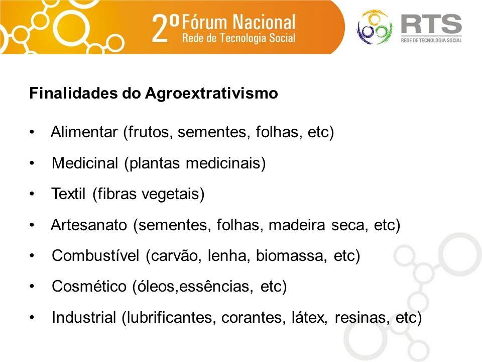 Finalidades do Agroextrativismo Alimentar (frutos, sementes, folhas, etc) Medicinal (plantas medicinais) Textil (fibras vegetais) Artesanato (sementes