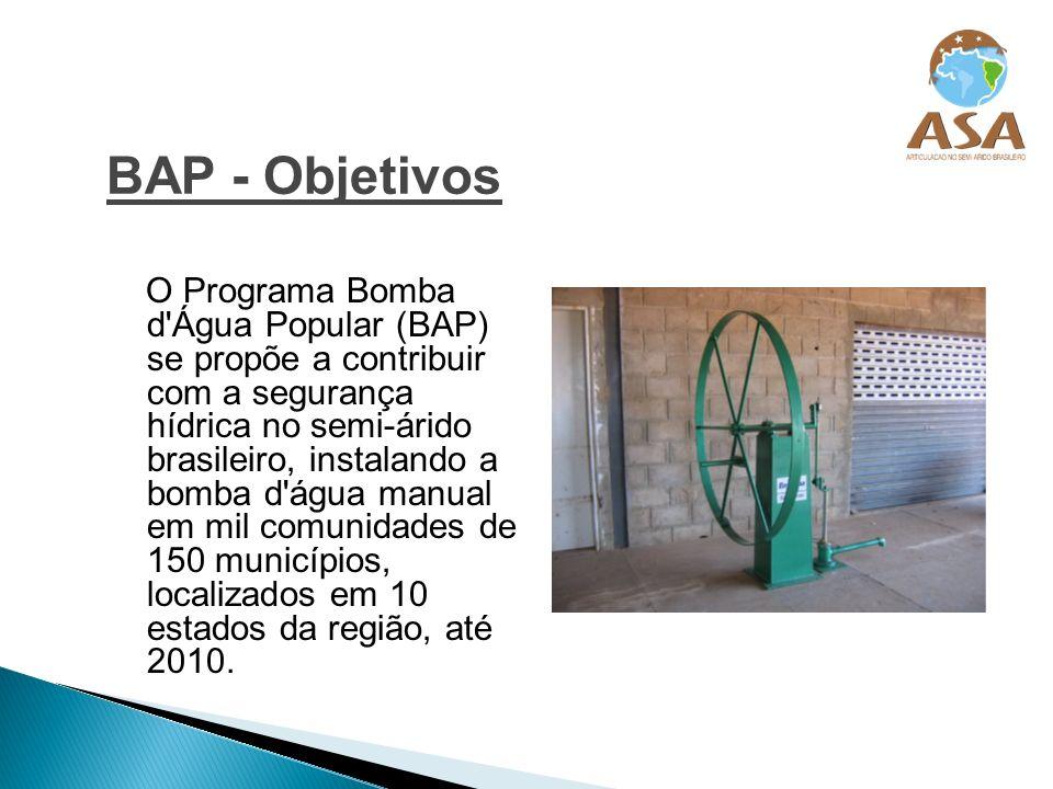 BAP - Objetivos O Programa Bomba d'Água Popular (BAP) se propõe a contribuir com a segurança hídrica no semi-árido brasileiro, instalando a bomba d'ág