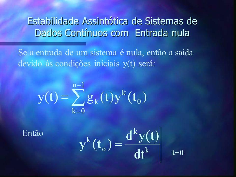Estabilidade Assintótica de Sistemas de Dados Contínuos com Entrada nula n A estabilidade de entrada nula é a condição de estabilidade quando a entrad