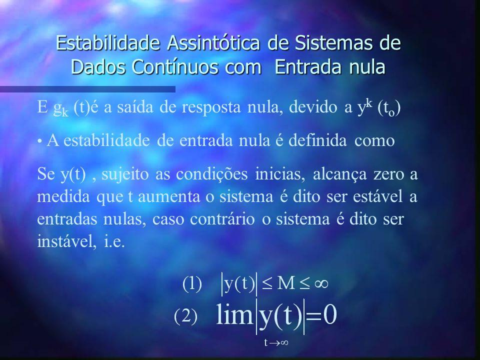 Estabilidade Assintótica de Sistemas de Dados Contínuos com Entrada nula Se a entrada de um sistema é nula, então a saída devido às condições iniciais