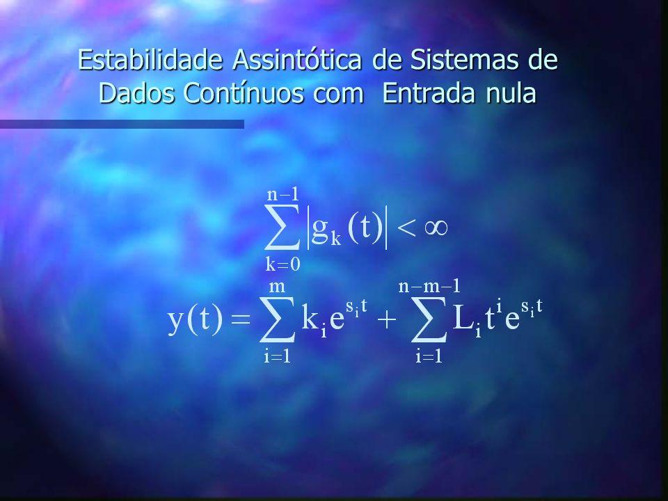 Estabilidade Assintótica de Sistemas de Dados Contínuos com Entrada nula A última equação requer que a magnitude de y(t) seja zero quando o tempo aume