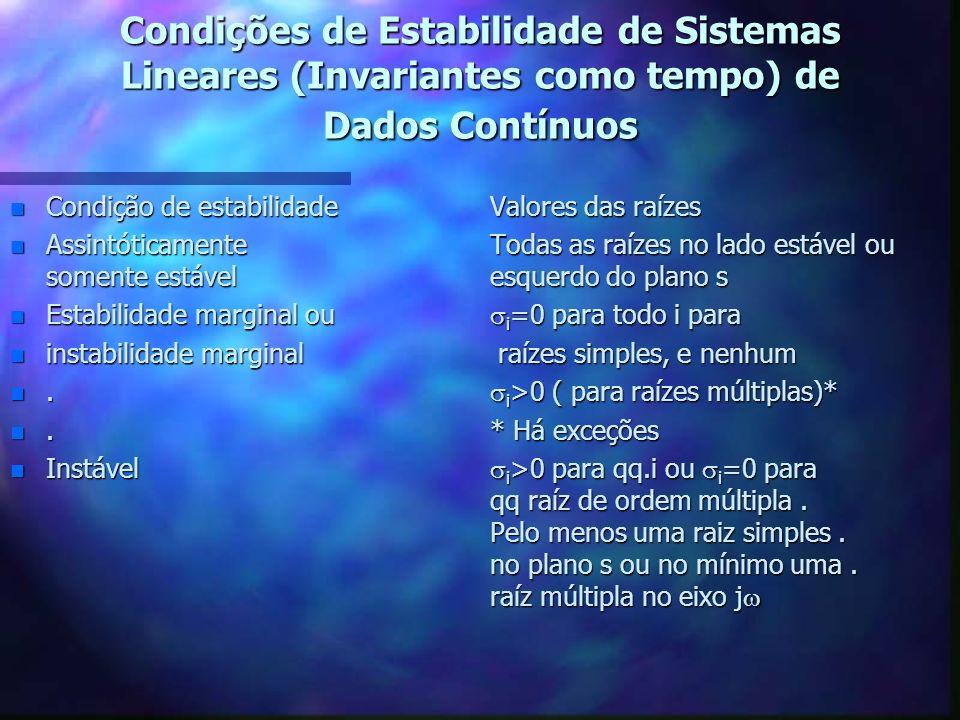 Estabilidade Assintótica de Sistemas de Dados Contínuos com Entrada nula Estabilidade marginal ou Instabilidade marginal = quando a equação caracterís