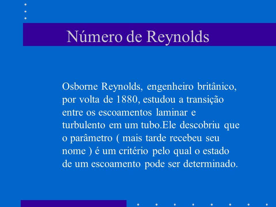 Número de Reynolds Osborne Reynolds, engenheiro britânico, por volta de 1880, estudou a transição entre os escoamentos laminar e turbulento em um tubo