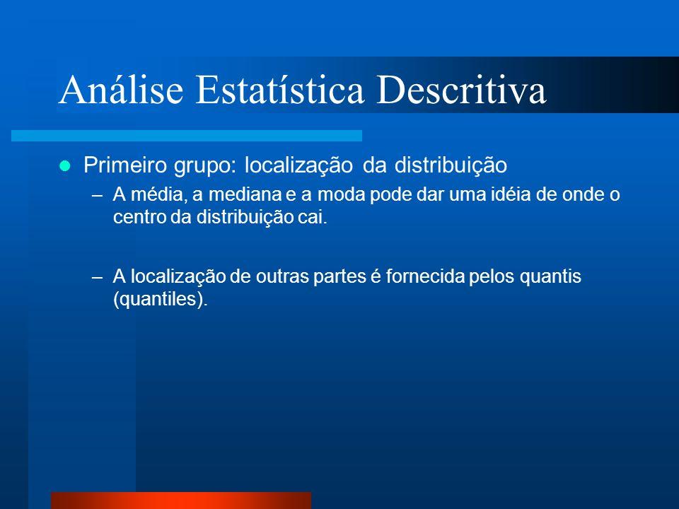 Análise Estatística Descritiva Primeiro grupo: localização da distribuição –A média, a mediana e a moda pode dar uma idéia de onde o centro da distrib