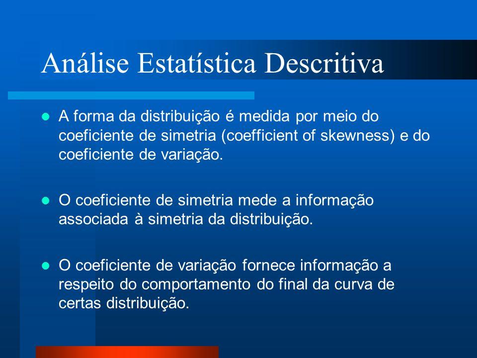 Análise Estatística Descritiva A forma da distribuição é medida por meio do coeficiente de simetria (coefficient of skewness) e do coeficiente de vari
