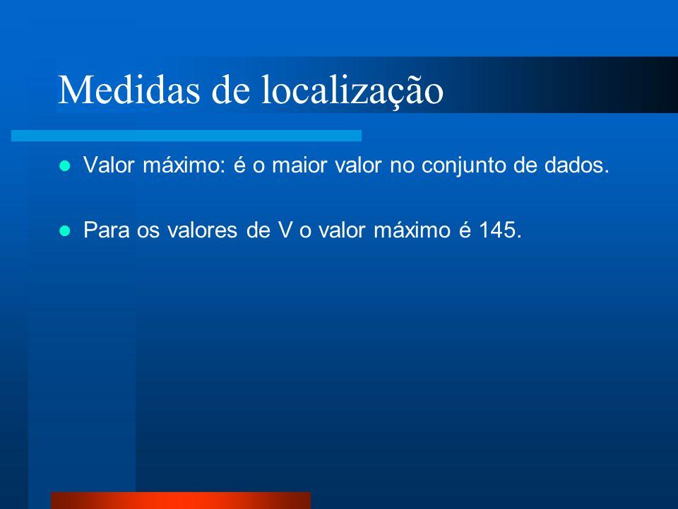 Medidas de localização Valor máximo: é o maior valor no conjunto de dados. Para os valores de V o valor máximo é 145.