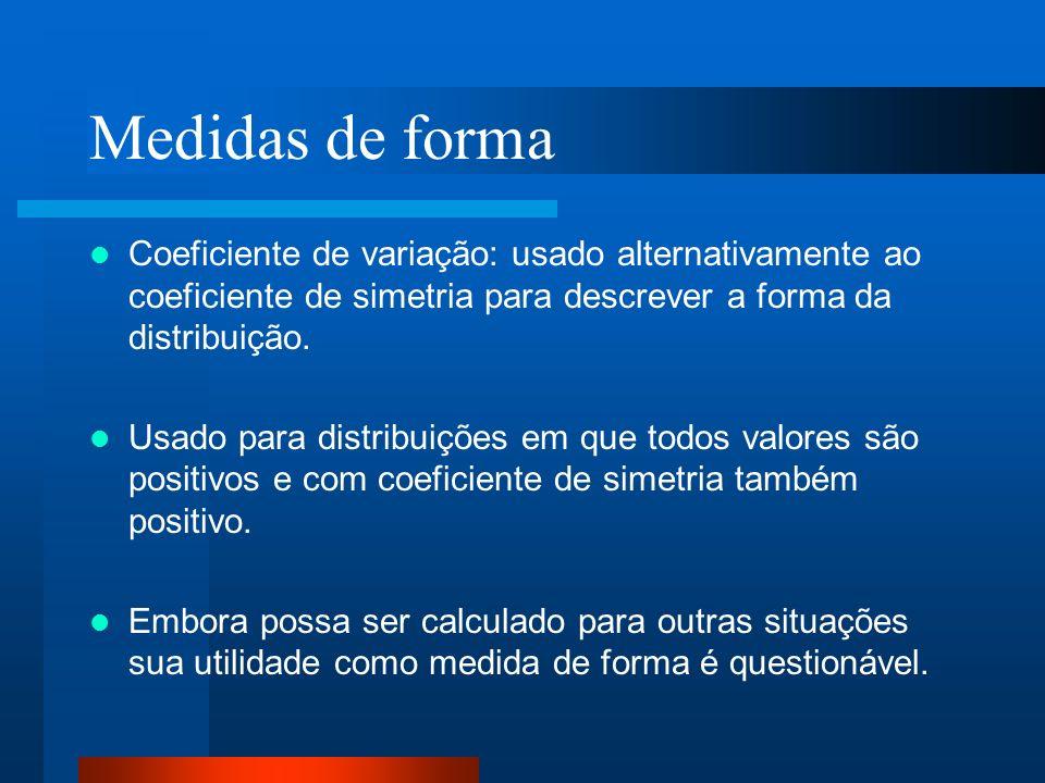 Medidas de forma Coeficiente de variação: usado alternativamente ao coeficiente de simetria para descrever a forma da distribuição. Usado para distrib