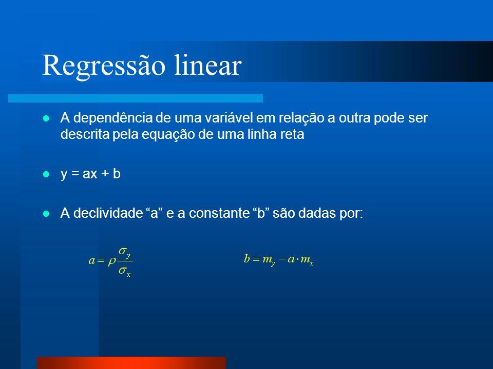 Regressão linear A dependência de uma variável em relação a outra pode ser descrita pela equação de uma linha reta y = ax + b A declividade a e a cons