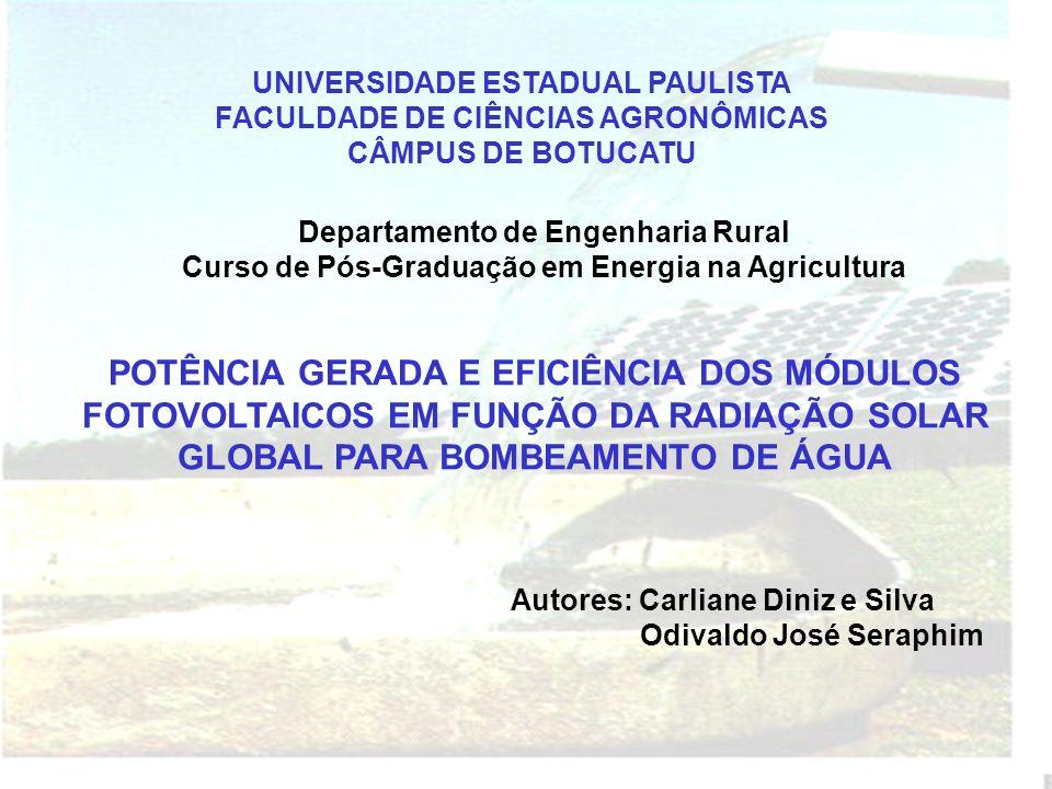 UNIVERSIDADE ESTADUAL PAULISTA FACULDADE DE CIÊNCIAS AGRONÔMICAS CÂMPUS DE BOTUCATU Departamento de Engenharia Rural Curso de Pós-Graduação em Energia na Agricultura POTÊNCIA GERADA E EFICIÊNCIA DOS MÓDULOS FOTOVOLTAICOS EM FUNÇÃO DA RADIAÇÃO SOLAR GLOBAL PARA BOMBEAMENTO DE ÁGUA Autores: Carliane Diniz e Silva Odivaldo José Seraphim