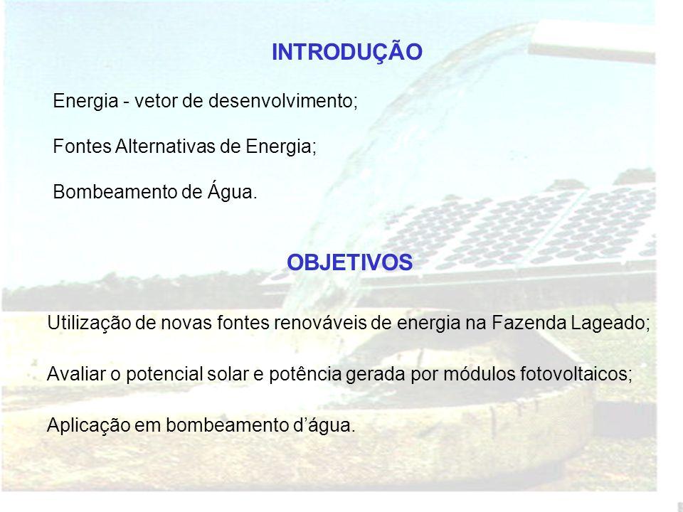 INTRODUÇÃO Energia - vetor de desenvolvimento; Fontes Alternativas de Energia; Bombeamento de Água.