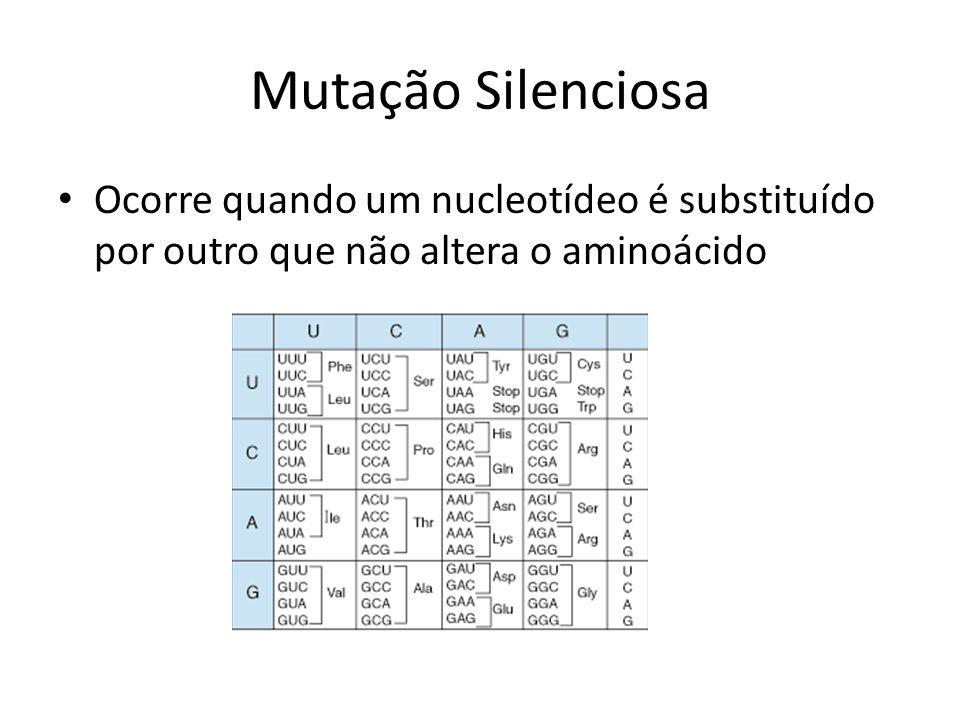 Mutação Silenciosa Ocorre quando um nucleotídeo é substituído por outro que não altera o aminoácido