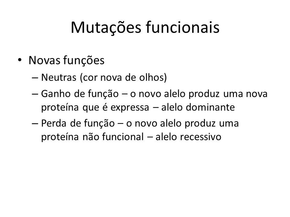Mutações funcionais Novas funções – Neutras (cor nova de olhos) – Ganho de função – o novo alelo produz uma nova proteína que é expressa – alelo domin