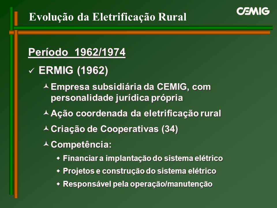 Evolução da Eletrificação Rural Período 1962/1974 ERMIG (1962) Empresa subsidiária da CEMIG, com personalidade jurídica própria Ação coordenada da ele