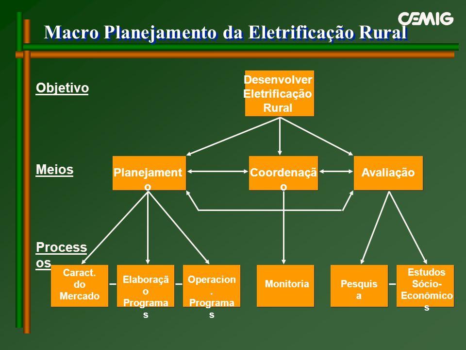 Macro Planejamento da Eletrificação Rural Desenvolver Eletrificação Rural Planejament o Coordenaçã o Avaliação Caract. do Mercado Elaboraçã o Programa