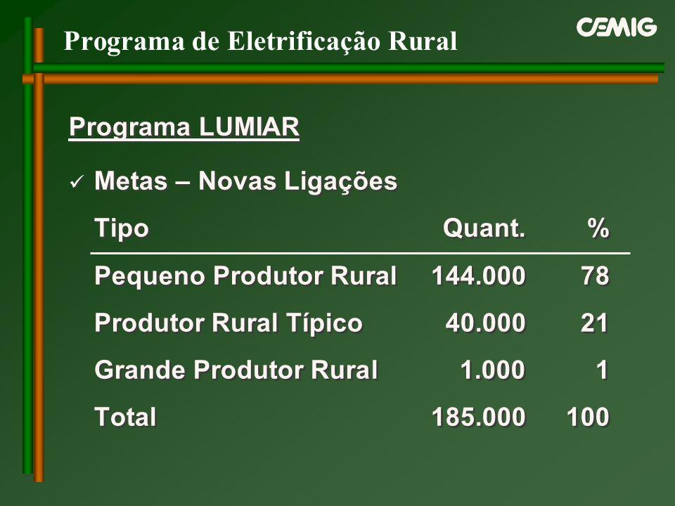 Programa de Eletrificação Rural Programa LUMIAR Metas – Novas Ligações TipoQuant.% Pequeno Produtor Rural144.00078 Produtor Rural Típico40.00021 Grand