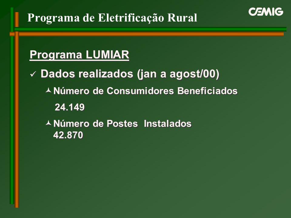 Programa de Eletrificação Rural Programa LUMIAR Dados realizados (jan a agost/00) Número de Consumidores Beneficiados 24.149 Número de Postes Instalad