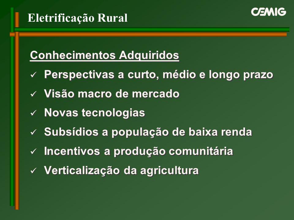 Eletrificação Rural Conhecimentos Adquiridos Perspectivas a curto, médio e longo prazo Visão macro de mercado Novas tecnologias Subsídios a população